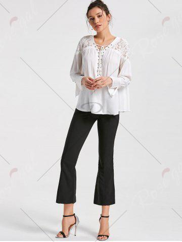 New Lace Yoke Lace Up Smock Blouse - M WHITE Mobile
