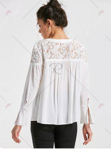 Affordable Lace Yoke Lace Up Smock Blouse - M WHITE Mobile