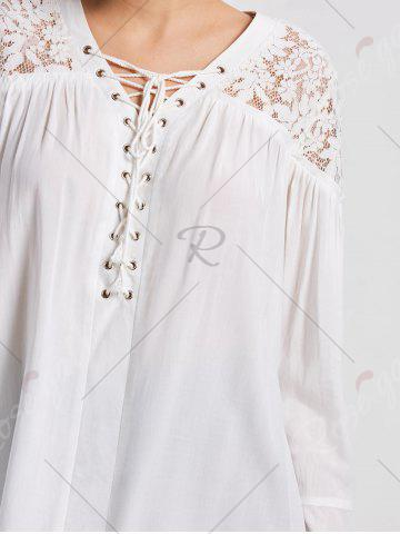 Trendy Lace Yoke Lace Up Smock Blouse - M WHITE Mobile