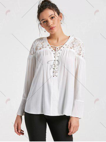 New Lace Yoke Lace Up Smock Blouse - 2XL WHITE Mobile