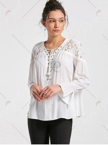 Trendy Lace Yoke Lace Up Smock Blouse - 2XL WHITE Mobile
