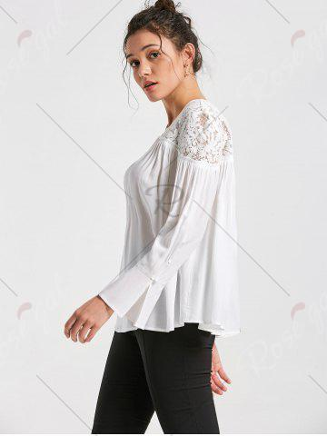 Shop Lace Yoke Lace Up Smock Blouse - 2XL WHITE Mobile