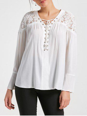 Affordable Lace Yoke Lace Up Smock Blouse - 2XL WHITE Mobile