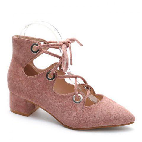 Trendy Lace Up Pointed Toe Chunky Heel Pumps LIGHT PINK 39