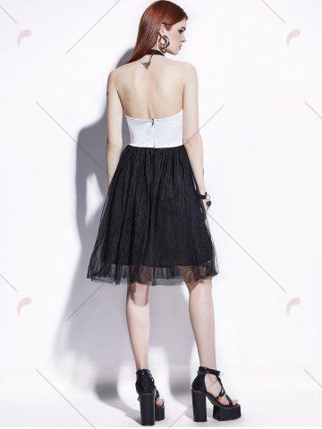Hot Color Block Lace Insert Pin Up Dress - S BLACK WHITE Mobile