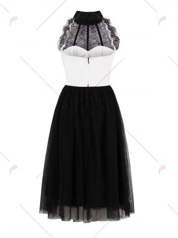 Trendy Color Block Lace Insert Pin Up Dress - S BLACK WHITE Mobile