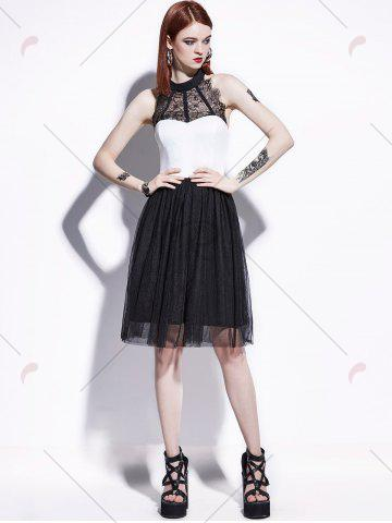 Buy Color Block Lace Insert Pin Up Dress - S BLACK WHITE Mobile