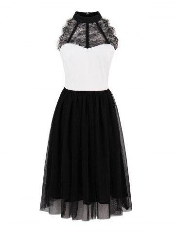 Chic Color Block Lace Insert Pin Up Dress - S BLACK WHITE Mobile