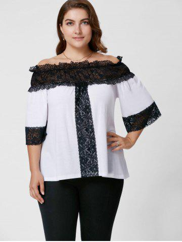 Outfits Plus Size Lace Trim Off The Shoulder Top - XL WHITE Mobile