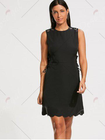 Store High Waist Sleeveless Scalloped Little Black Dress - M BLACK Mobile