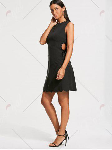 Shops High Waist Sleeveless Scalloped Little Black Dress - M BLACK Mobile