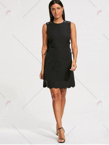 Best High Waist Sleeveless Scalloped Little Black Dress - M BLACK Mobile