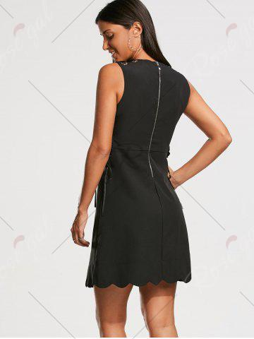 Unique High Waist Sleeveless Scalloped Little Black Dress - L BLACK Mobile