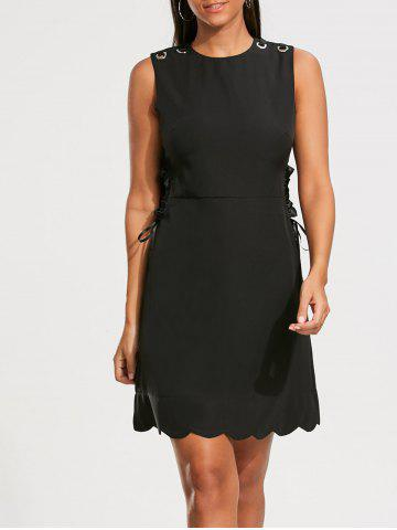 Store High Waist Sleeveless Scalloped Little Black Dress - L BLACK Mobile