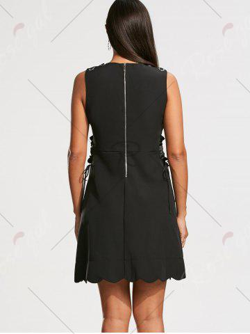 Best High Waist Sleeveless Scalloped Little Black Dress - L BLACK Mobile