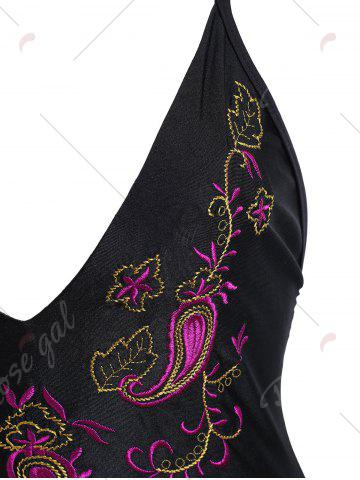 Chic Embroidered Crossback Plus Size Swimsuit - XL BLACK Mobile