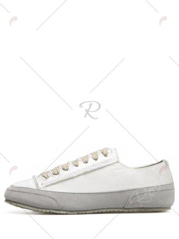 Outfit Casual Suede Insert Satin Sneakers - 37 WHITE Mobile
