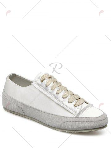 Shops Casual Suede Insert Satin Sneakers - 37 WHITE Mobile