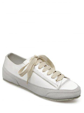 Unique Casual Suede Insert Satin Sneakers WHITE 38