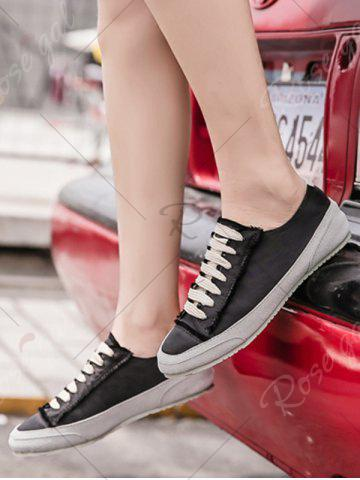 Hot Casual Suede Insert Satin Sneakers - 39 BLACK Mobile