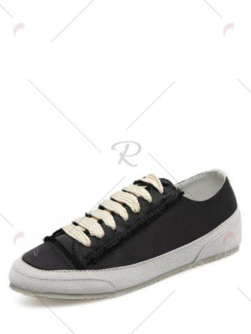 Cheap Casual Suede Insert Satin Sneakers - 39 BLACK Mobile