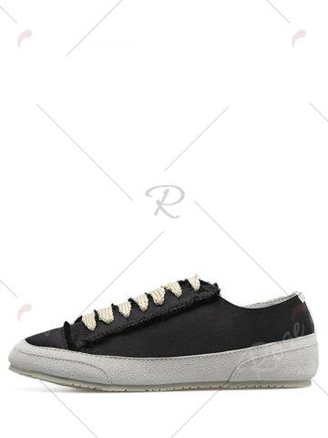 Fancy Casual Suede Insert Satin Sneakers - 40 BLACK Mobile