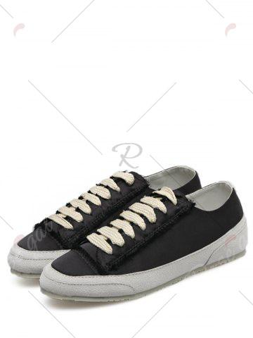 Cheap Casual Suede Insert Satin Sneakers - 40 BLACK Mobile