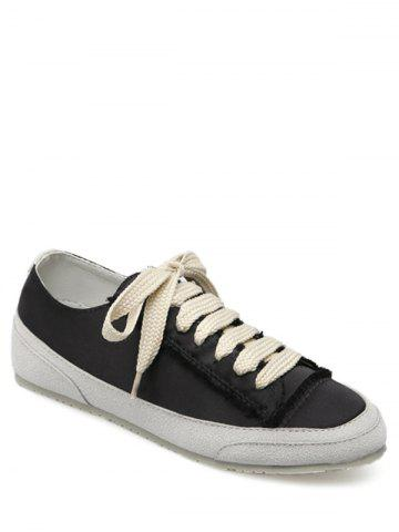 Online Casual Suede Insert Satin Sneakers - 40 BLACK Mobile