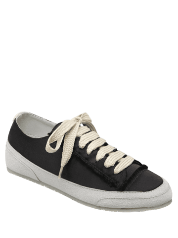 Fashion Casual Suede Insert Satin Sneakers - 38 BLACK Mobile