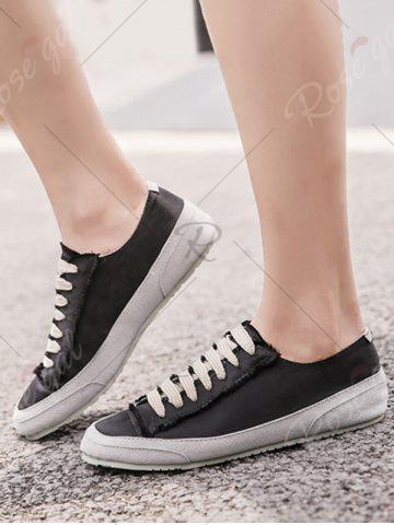Hot Casual Suede Insert Satin Sneakers - 38 BLACK Mobile