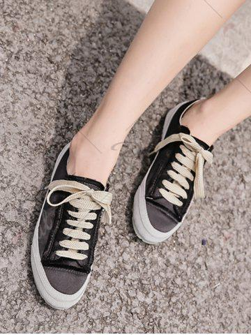Cheap Casual Suede Insert Satin Sneakers - 38 BLACK Mobile