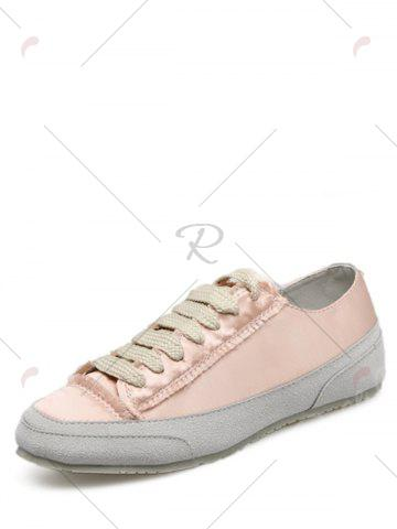 Sale Casual Suede Insert Satin Sneakers - 39 CHAMPAGNE Mobile