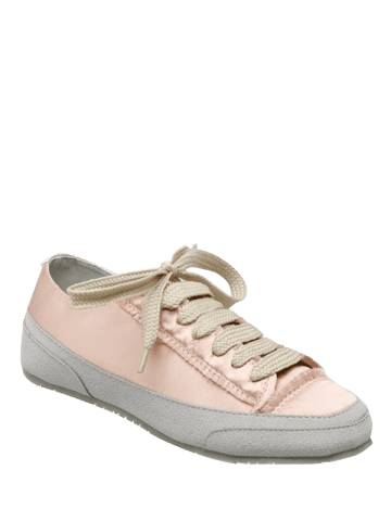 Cheap Casual Suede Insert Satin Sneakers - 39 CHAMPAGNE Mobile