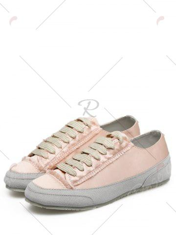 Fashion Casual Suede Insert Satin Sneakers - 39 CHAMPAGNE Mobile