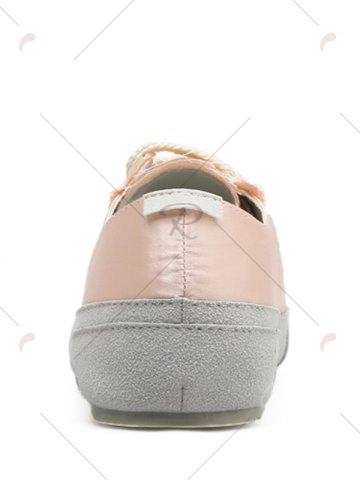 Trendy Casual Suede Insert Satin Sneakers - 39 CHAMPAGNE Mobile