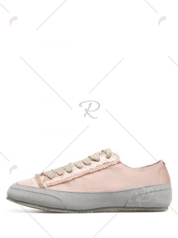 Fancy Casual Suede Insert Satin Sneakers - 39 CHAMPAGNE Mobile