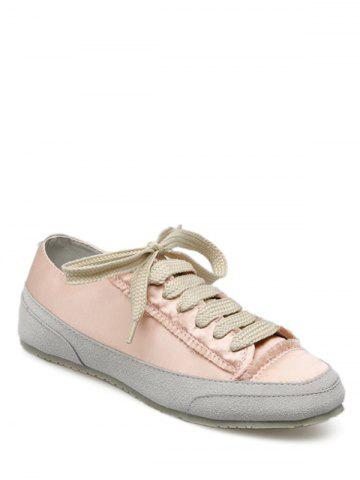 Sale Casual Suede Insert Satin Sneakers - 38 CHAMPAGNE Mobile