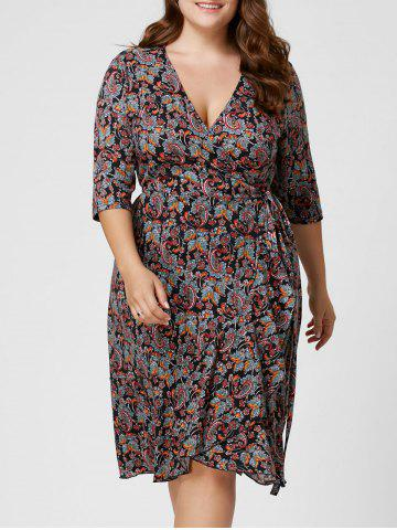 Sale Plus Size Paisley Overlap Wrap Dress - XL COLORMIX Mobile