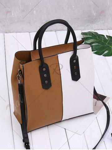 Trendy Two Tone Metal Embellished Tote Bag - WHITE AND BROWN  Mobile