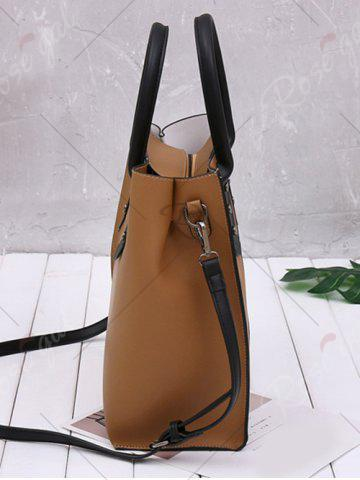 Hot Two Tone Metal Embellished Tote Bag - WHITE AND BROWN  Mobile