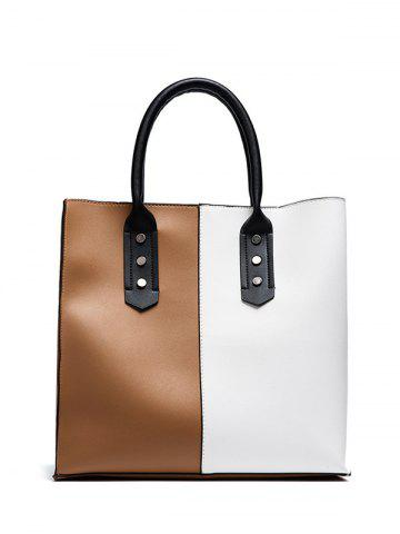 Fancy Two Tone Metal Embellished Tote Bag - WHITE AND BROWN  Mobile