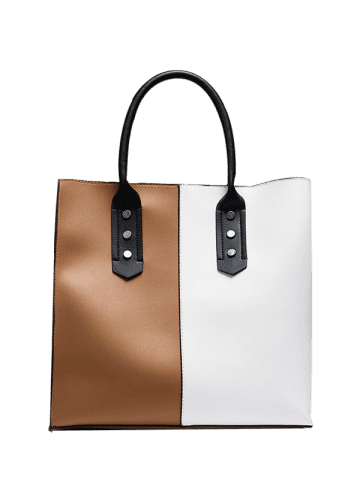 Buy Two Tone Metal Embellished Tote Bag - WHITE AND BROWN  Mobile