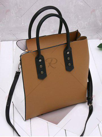 Online Two Tone Metal Embellished Tote Bag - WHITE AND BROWN  Mobile
