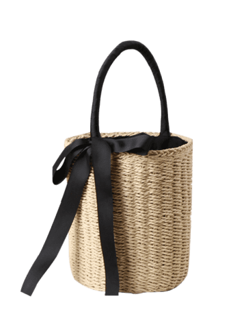Discount Straw Cylinder Shaped Ribbon Tote Bag - BEIGE  Mobile