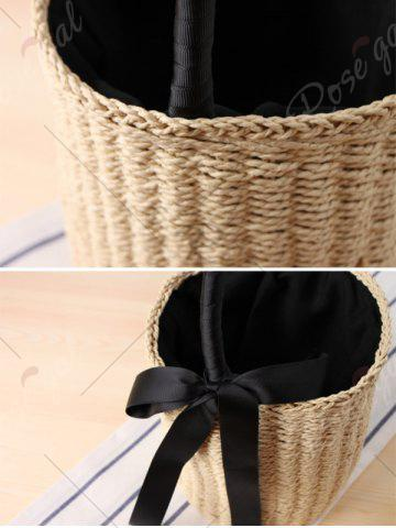 New Straw Cylinder Shaped Ribbon Tote Bag - BEIGE  Mobile