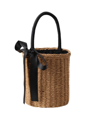 Outfits Straw Cylinder Shaped Ribbon Tote Bag - CAMEL  Mobile