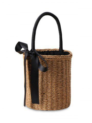 Straw Cylinder Shaped Ribbon Tote Bag - Camel