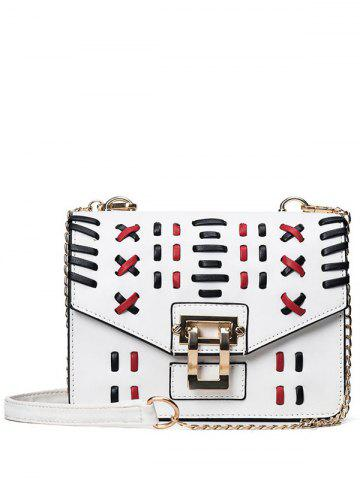 Affordable Color Block Weave Crossbody Bag - WHITE  Mobile