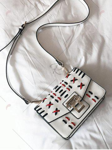 Outfit Color Block Weave Crossbody Bag - WHITE  Mobile