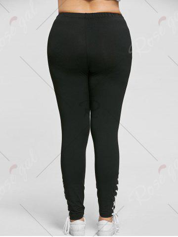 New Plus Size Lace Up Tight Pants - 3XL BLACK Mobile